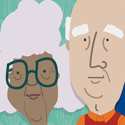 Illustration of elderly couple