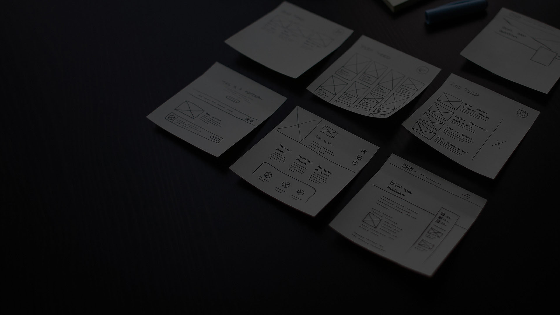 Sticky notes outlining marketing process